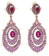 Judith Ripka Caserta Dbl Oval Pave Shapes Earring WITH White Diamonds, Rubelite, Pink Sapphire Pave with Black Rhodium.