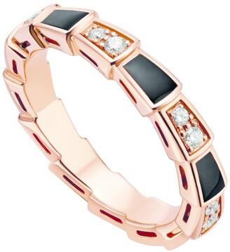 Bvlgari Rose Gold, Onyx and Diamonds Serpenti Viper Ring