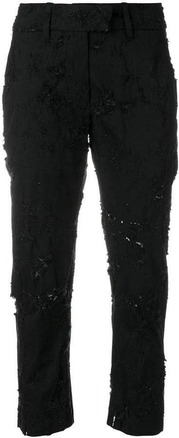 Ann Demeulemeester distressed cropped trousers