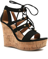 Qupid Black Lace-Up Clemence Wedge Sandal