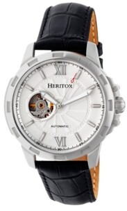 Heritor Automatic Bonavento Silver Leather Watches 44mm