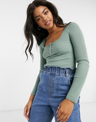 ASOS DESIGN sweater with square neck and popper detail in sage