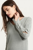 Dynamite Sweater With Lace Up Sleeves