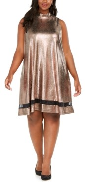 Robbie Bee Plus Size Metallic Illusion Trapeze Dress
