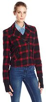 Eleven Paris Women's Wool Plaid Motorcycle Jacket