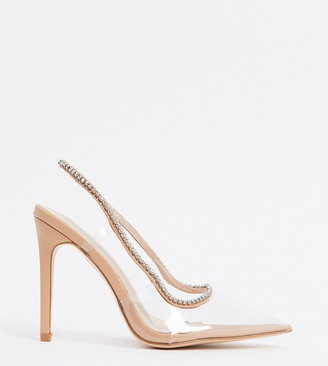 Public Desire Wide Fit Aurora embellished heeled shoes in clear