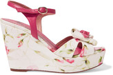 RED Valentino Leather-trimmed printed canvas wedge sandals