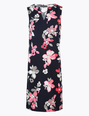 Marks and Spencer PETITE Linen Floral V-Neck Shift Dress