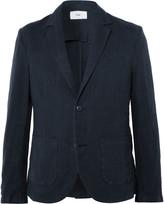 Folk - Navy Slim-fit Linen And Cotton-blend Blazer