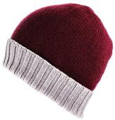 Black Burgundy and Natural Cashmere Beanie