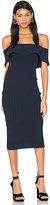 KENDALL + KYLIE Ruffle Midi Dress in Navy. - size M (also in S,XS)