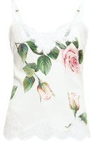 Dolce & Gabbana Lace-trimmed Floral-print Silk-blend Camisole - Womens - White Print
