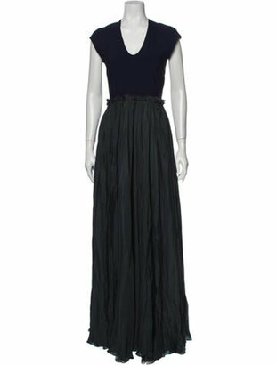 Lanvin Silk Long Dress Blue