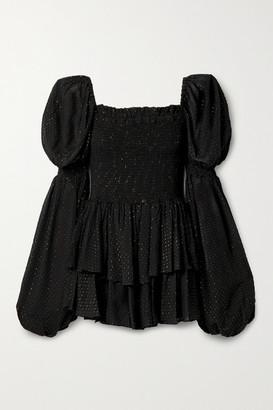 Caroline Constas Alexa Smocked Metallic Fil Coupe Georgette Mini Dress - Black