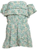Sienna Goodies - Green Leaf Off Shoulder Printed Short Mini Dress - S - Green