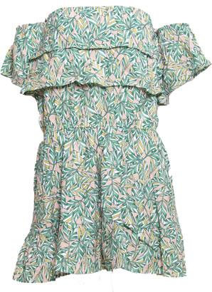 Sweet Like You - Green Leaf Off Shoulder Printed Short Mini Dress - S - Green