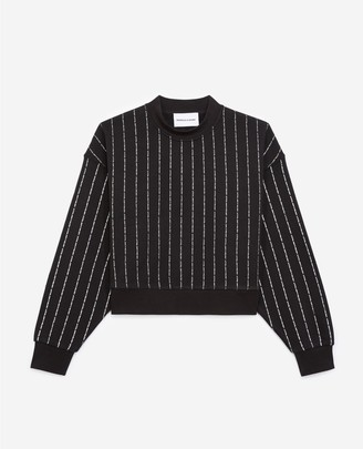 The Kooples Black sweatshirt with silver stripes