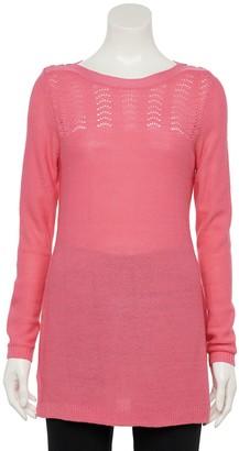 Croft & Barrow Women's Pointelle Crewneck Tunic Sweater