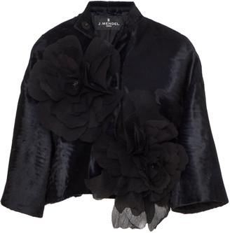 J. Mendel Floral-Appliqued Broadtail Cropped Jacket