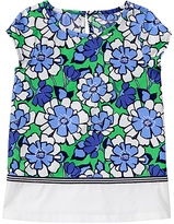 Gymboree Blue & Green Floral Cap-Sleeve Top - Girls