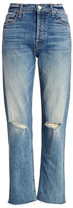 Mother The Tomcat High-Rise Straight-Leg Distressed Raw Hem Jeans