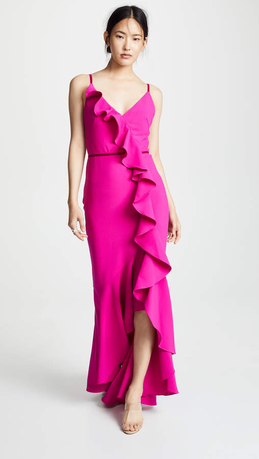 Marchesa Sleeveless V-Neck Crepe Gown