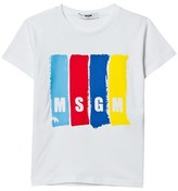 MSGM White Multi Colour Branded Tee