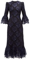 The Vampire's Wife The Wild Flower Metallic Floral-lace Midi Dress - Womens - Black Navy