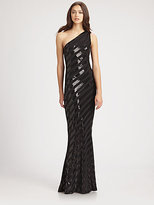 David Meister Striped Sequined Gown