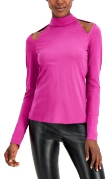 INC International Concepts Inc Plus Size Cold-Shoulder Mock-Neck Top, Created for Macy's
