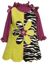 Bonnie Jean Girls 2-6X Zebra Print Colorblock Corduroy Jumper