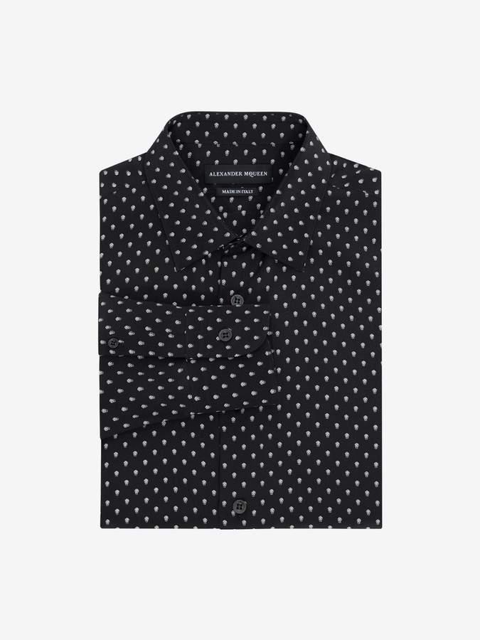 Alexander McQueen Mini Skull Silk Crepe Shirt