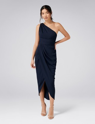 Forever New Mandy One-Shoulder Drape Maxi Dress - Navy - 4
