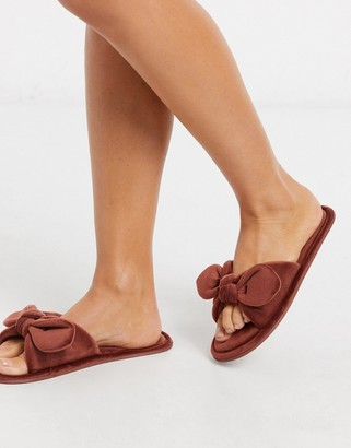 Hunkemoller velour knot slipper in brown