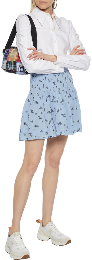 Thumbnail for your product : Ganni Shirred Floral-print Georgette Mini Skirt