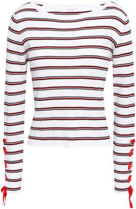 Sandro Lace-up Striped Cropped Ribbed-knit Top