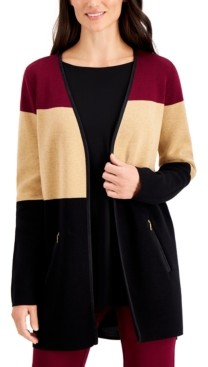 Charter Club Cotton Colorblocked Open-Front Cardigan, Created for Macy's