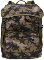 Valentino Camouflage-print Leather-trimmed Backpack