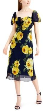 B. Darlin Juniors' Floral-Print Puff-Sleeve Midi Dress