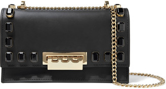 ZAC Zac Posen Earthette Crystal-embellished Leather Shoulder Bag