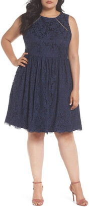 Eliza J Fit & Flare Lace Dress