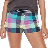 Juniors' SO® Pajamas: Naptime Squad Flannel Boxer Shorts