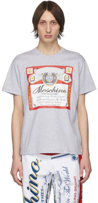 Moschino Grey Budweiser Edition Logo T-Shirt