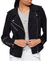 Mint Velvet Suede Zip Biker Jacket, Dark Blue