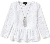 I.N. Girl Big Girls 7-16 Long-Sleeve Peplum Lace Top