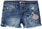 Bebe Girls' Embroidered Linen-Blend Denim Short