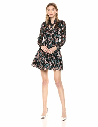 Ali & Jay Women's Maybe It's Love Long Sleeve TIE Neck Short Aline Dress