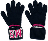 MSGM logo embroidered gloves
