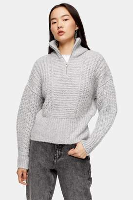 Topshop Grey Knitted Zip Up Funnel Neck Sweater