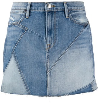 Frame Patchwork Mini Denim Skirt